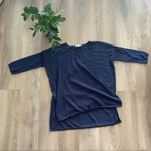 LOFT Navy Thin Knit Sweater with Side Slits